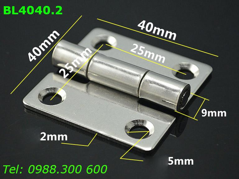 Bản lề inox 304 size 40x40mm dày 2mm - BL4040.2