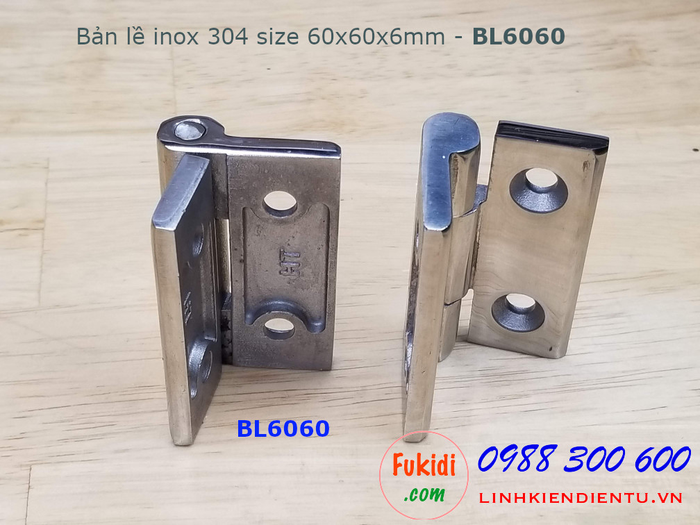Bản lề inox 304 size 60x60mm dày 6mm - BL6060