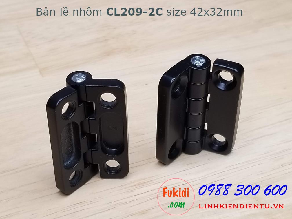 Bản lề nhôm CL209-2C kích thước 42x32mm, bề dày 5mm, màu đen