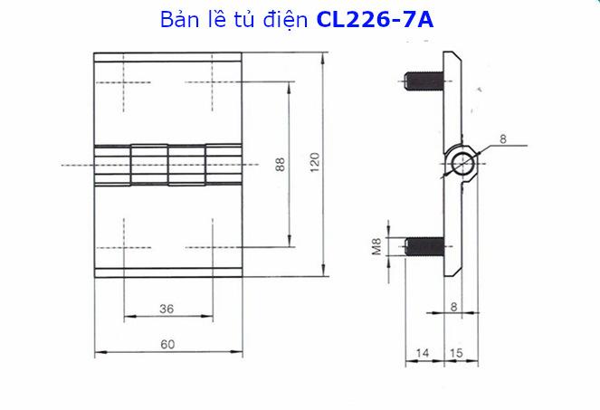 Chi tiết kích thước của bản lề tủ điện CL226-7