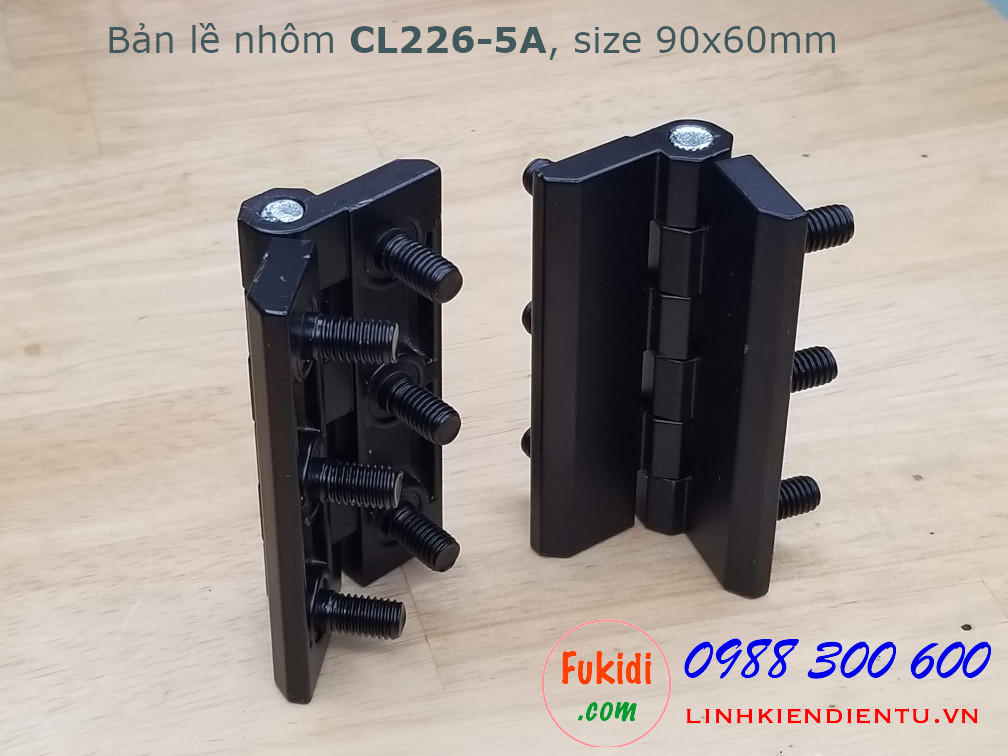 Bản lề hợp kim nhôm CL226-5A size 90x60mm, dày 8mm, màu đen