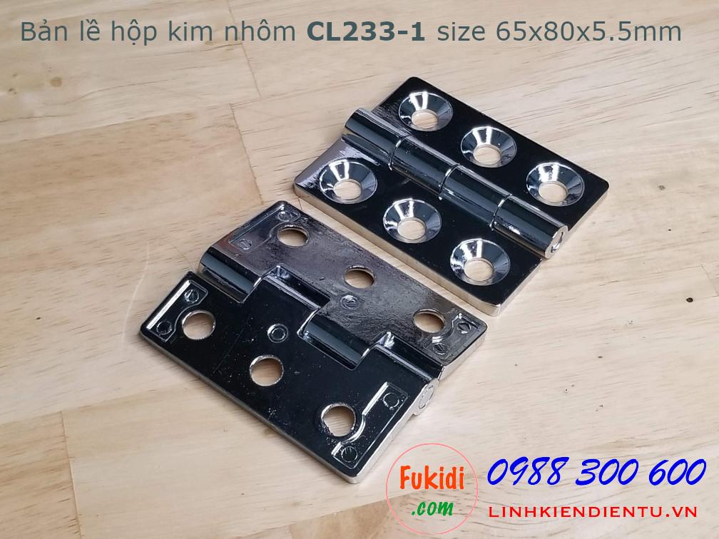 Bản lề CL233-1 hợp kim nhôm, size 65x80x5.5mm, màu bạc