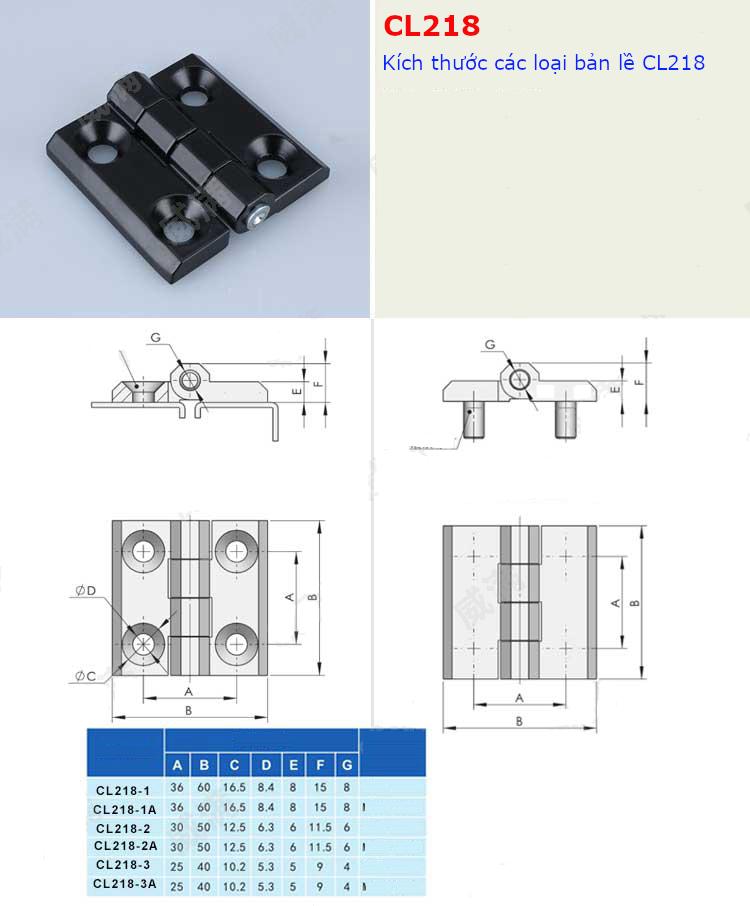 Bản lề tủ điện HL050 kích thước 40x40mm màu đen CL218-3