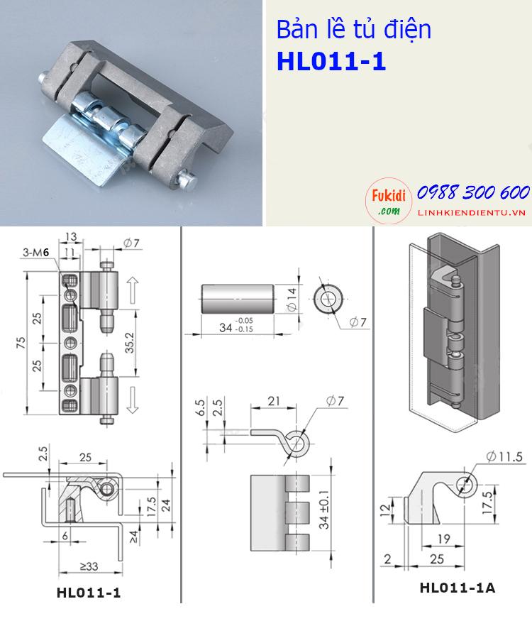 Bản vẽ chi tiết kích thước của bản lề HL011-1