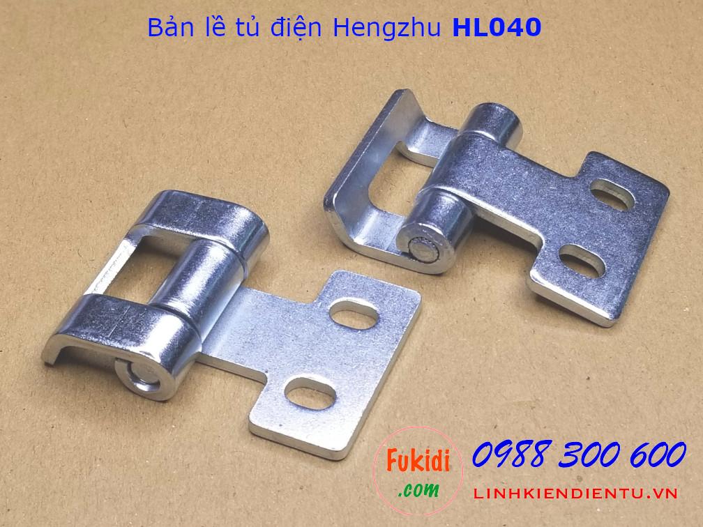 Bản lề tủ điện Hengzhu HL040, chất liệu thép mạ sáng, dài 40mm