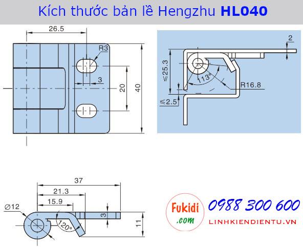 Bản vẽ chi tiết kích thước của bản lề Hengzhu HL040