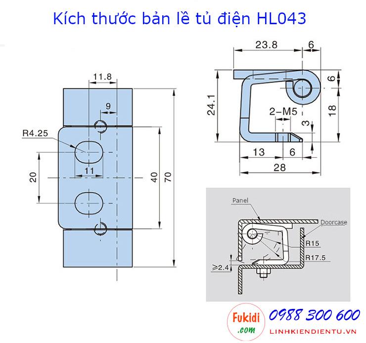 Bản vẽ chi tiết kích thước của bản lề tủ điện Hengzhu HL043