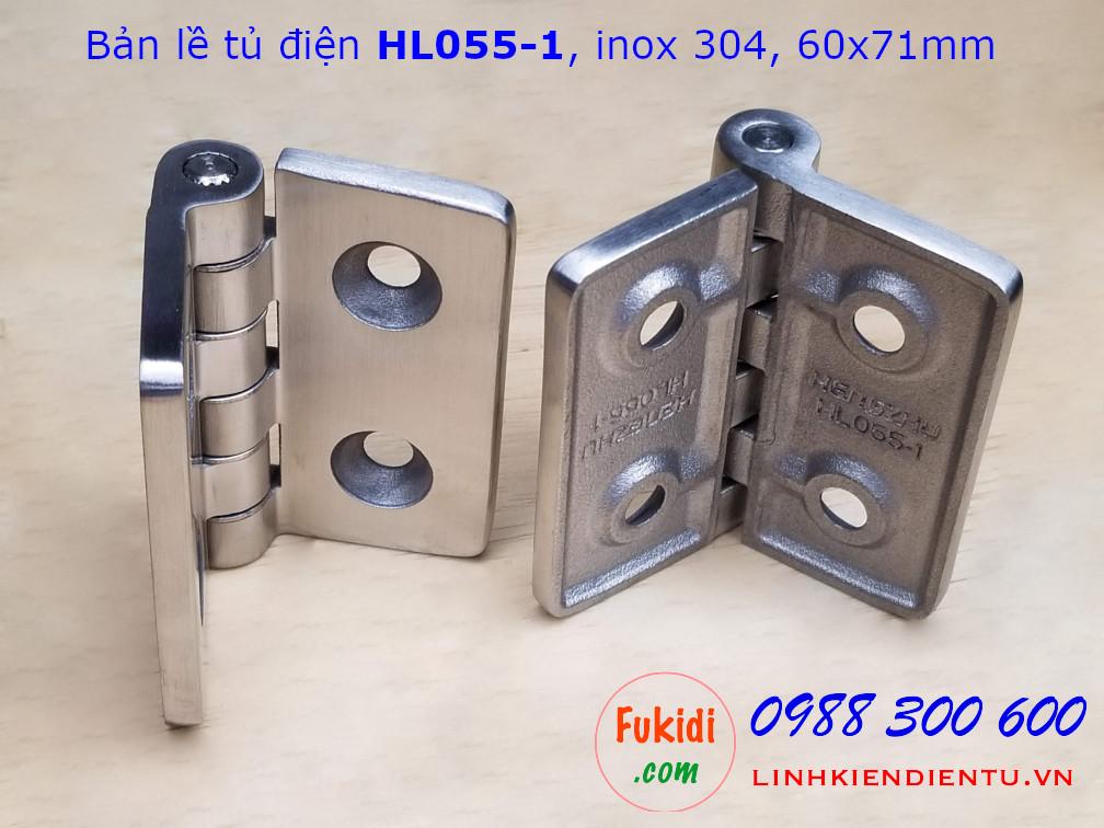 Bản lề tủ điện HL055-1, inox 304 kich thước 60x71mm