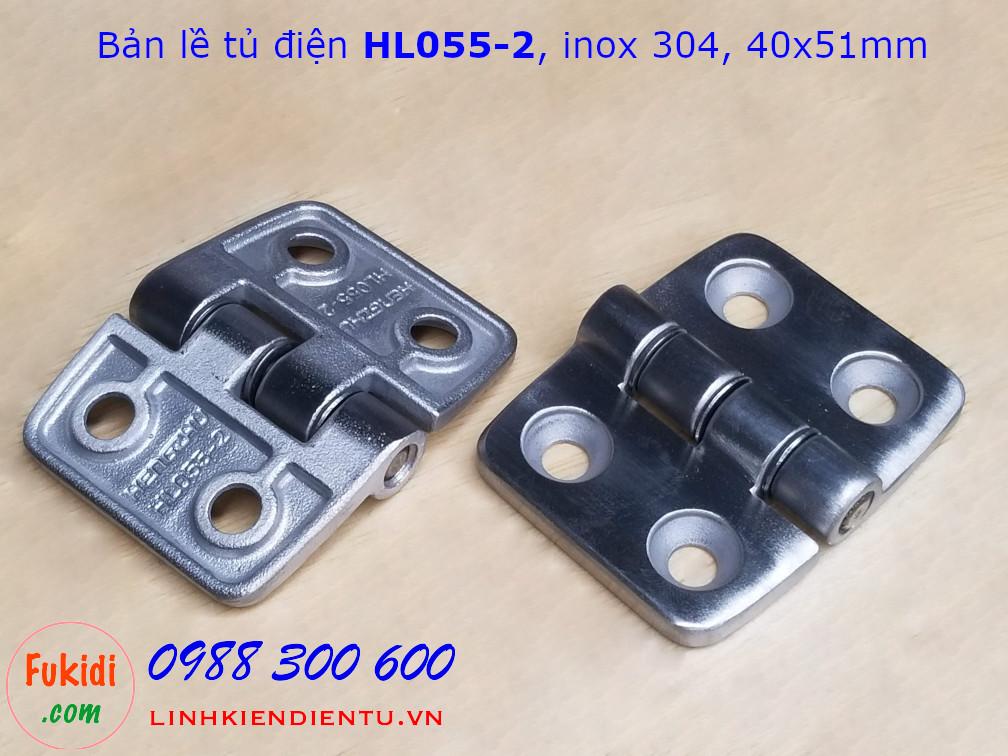 Bản lề tủ điện HL055-2, inox 304 kich thước 40x51mm