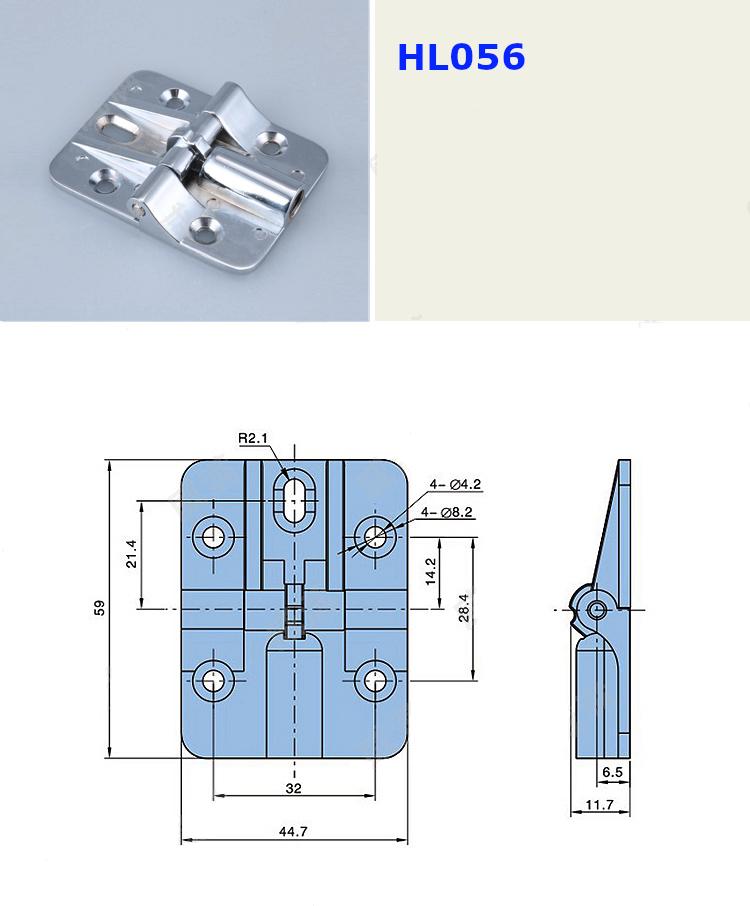 Bản lề nhôm xoay theo bước HL056 kích thước 59x44.7mm màu bạc