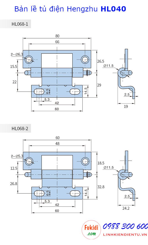 Bản lề tủ điện Hengzhu HL068-2, chất liệu thép mạ