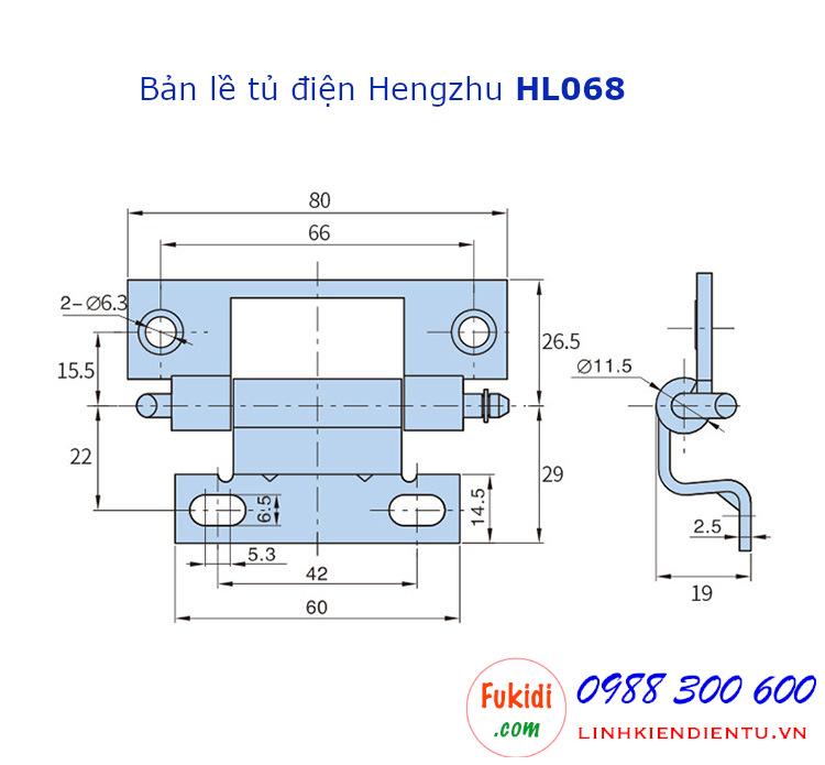 Bản lề tủ điện Hengzhu HL068, chất liệu thép, size 80x29mm