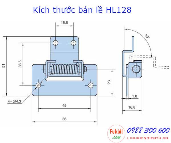 Bản lề tủ điện lò xo Hengzhu HL128, chiều dài 56mm chất liệu thép mạ