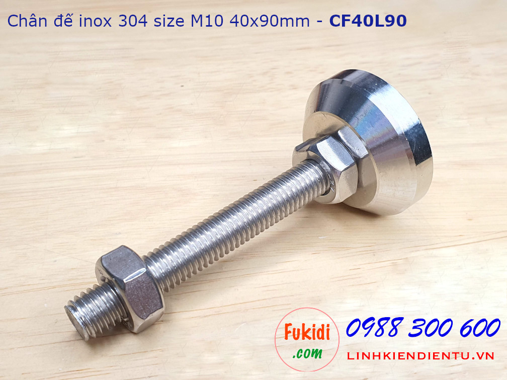 Chân đế inox 304 M10, đế 40mm dài 90mm - CF40L90