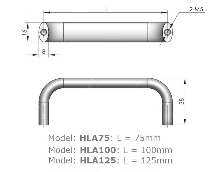 Tay nắm cửa tủ chữ D, chất liệu hợp kim nhôm, dài 75mm model HLA75