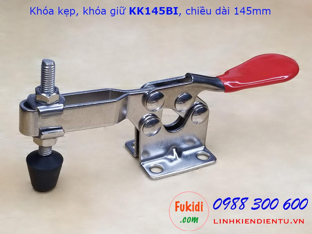 khóa kẹp định vị đứng, khóa giữ inox 304 dài 145mm model KK145BI