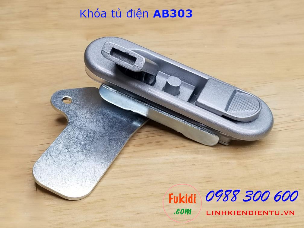 Khóa tủ điện không chìa, hợp kim kẽm màu trắng, dài 90mm  AB303