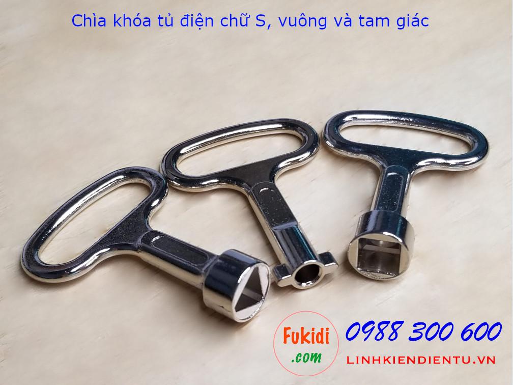 Chìa khóa tủ điện vuông loại nhỏ 52x37mm kẽm kim loại -CKVS