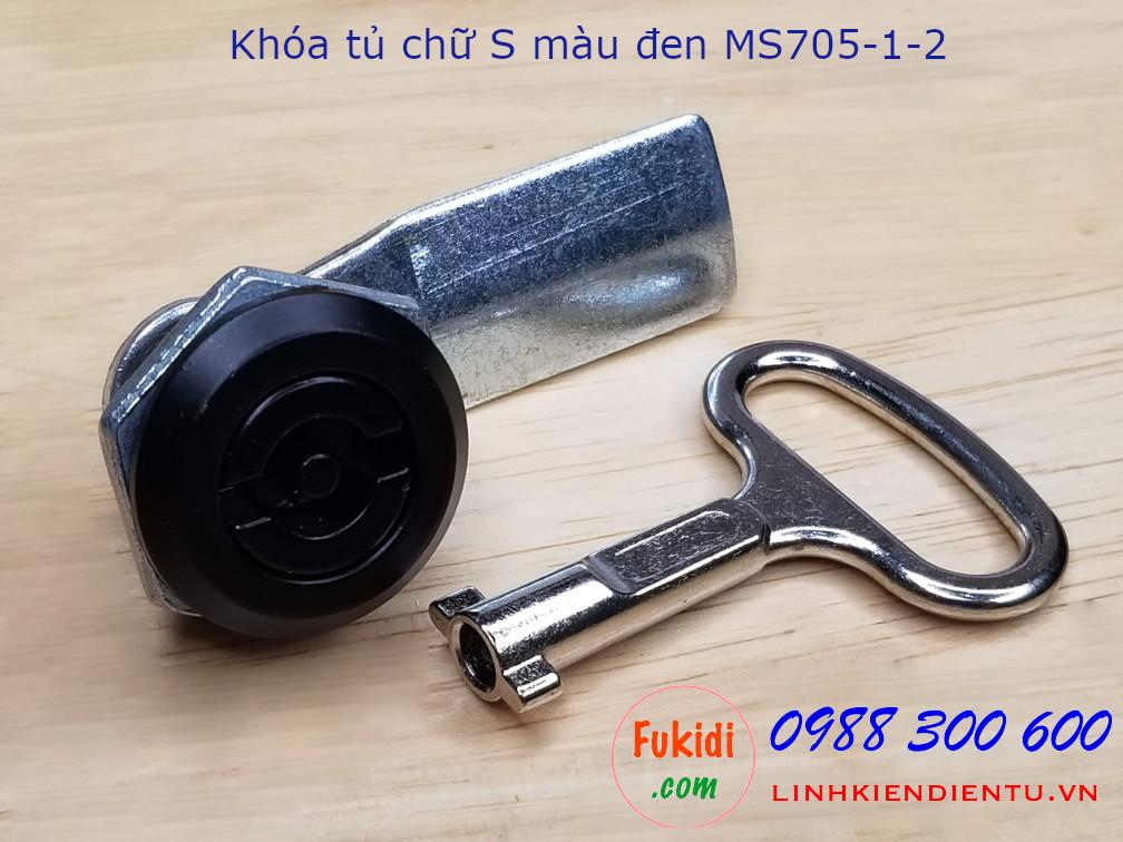 Khóa tủ điện MS705-1-2 đầu chữ S màu đen