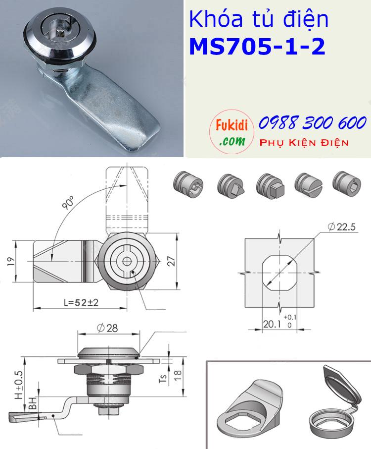 Khóa tủ điện MS705-1-2 đầu tam giác màu đen