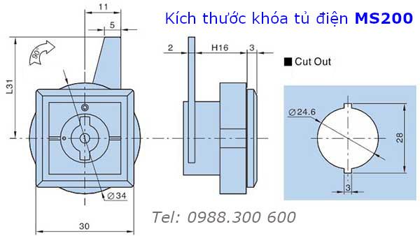 Khóa tủ điện MS200 chất liệu thép và nhựa đầu khóa chữ S