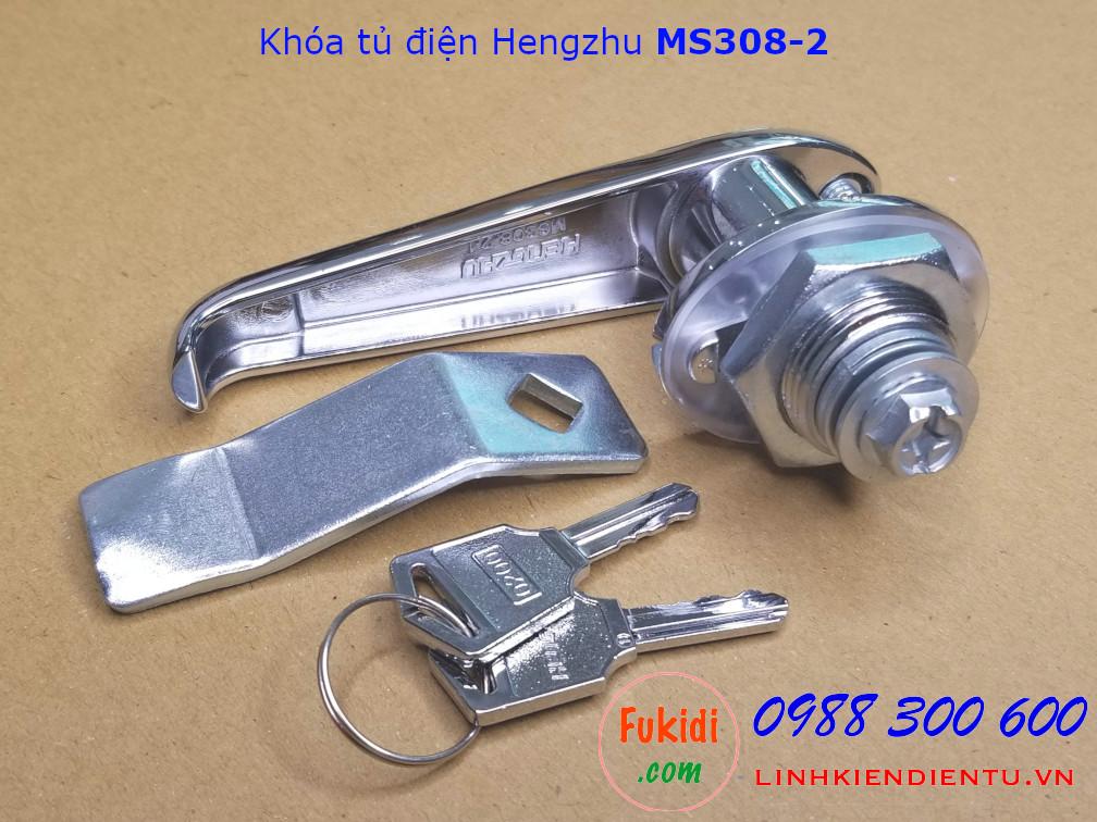 Khóa tủ điện MS308-2-1 chất liệu hợp kim kẽm mạ crome, có chìa khóa