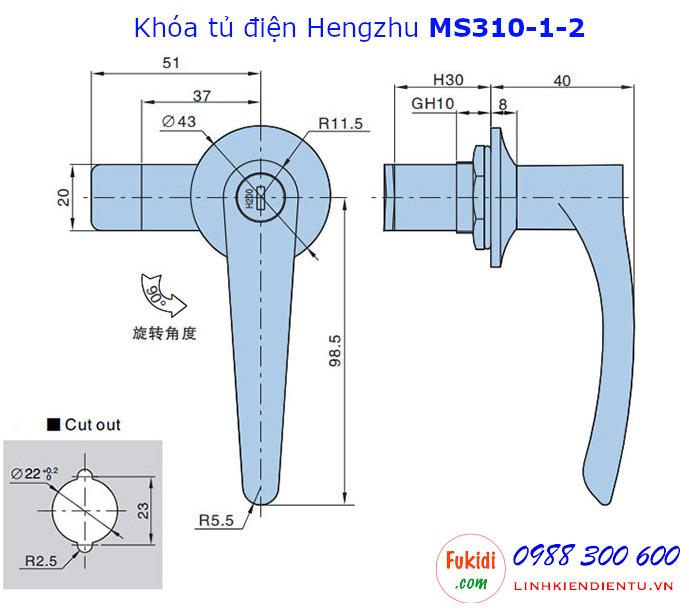 Bản vẽ chi tiết khóa tủ điện Hengzhu MS310-1-2 hợp kim kẽm không chìa