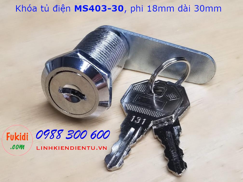 Khóa tủ điện MS403-30, phi 18mm, dài 30mm có chìa khóa