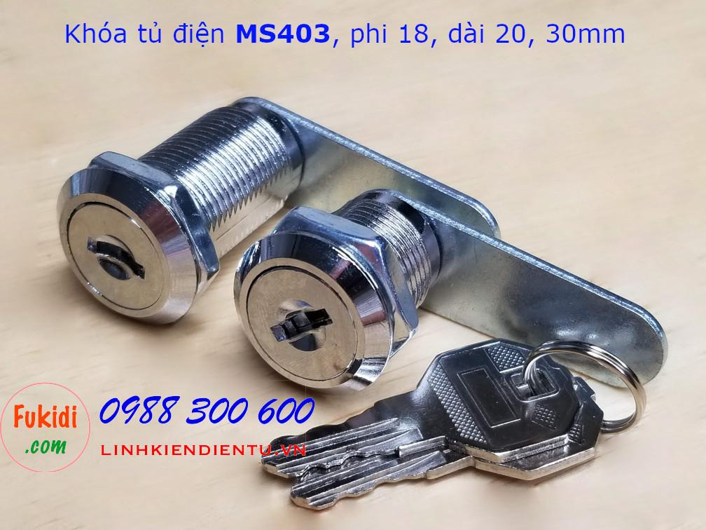 Khóa tủ điện MS403-20, phi 18mm, dài 20mm có chìa khóa