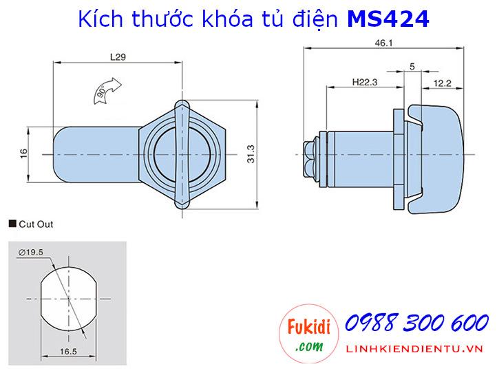 Khóa tủ điện MS424, hợp kim kẽm, phi 19.5mm