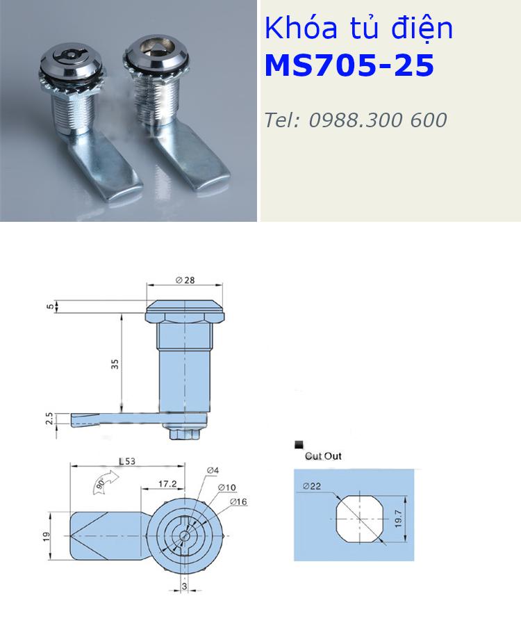 Khóa tủ điện MS705-35, phi 22mm dài 35mm đầu tam giác - MS705-35TG