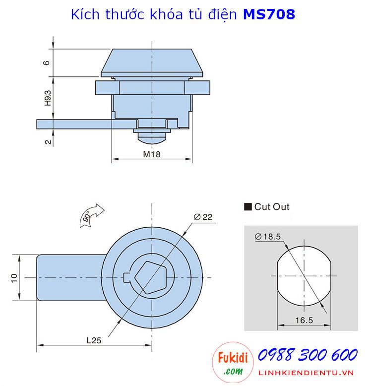 Khóa tủ điện MS708 đầu lục giác, phi 18mm, cần gạt dài 25mm