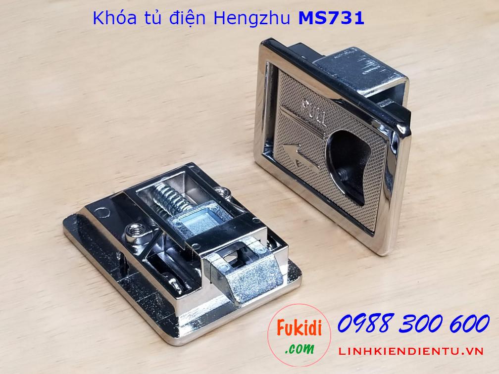 Khóa tủ điện Hengzhu MS731-1-2 hợp kim kẽm không chìa khóa, màu trắng