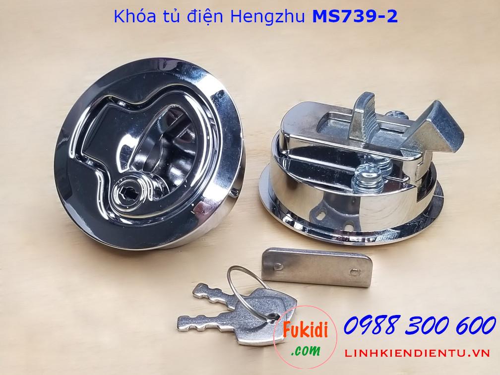 Khóa tủ điện Hengzhu MS739-2 hợp kim kẽm, hình tròn 61.5mm, có chìa khóa