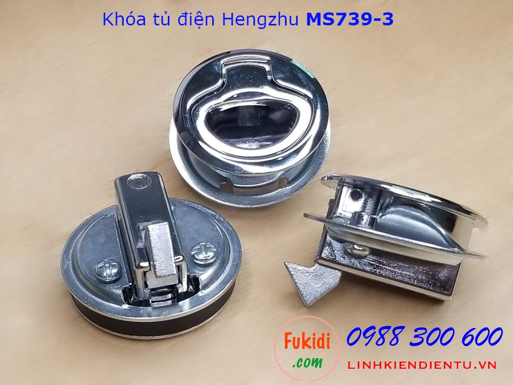 Khóa tủ điện Hengzhu MS739-3 hợp kim kẽm hình tròn phi 40mm, không chìa, màu trắng sáng