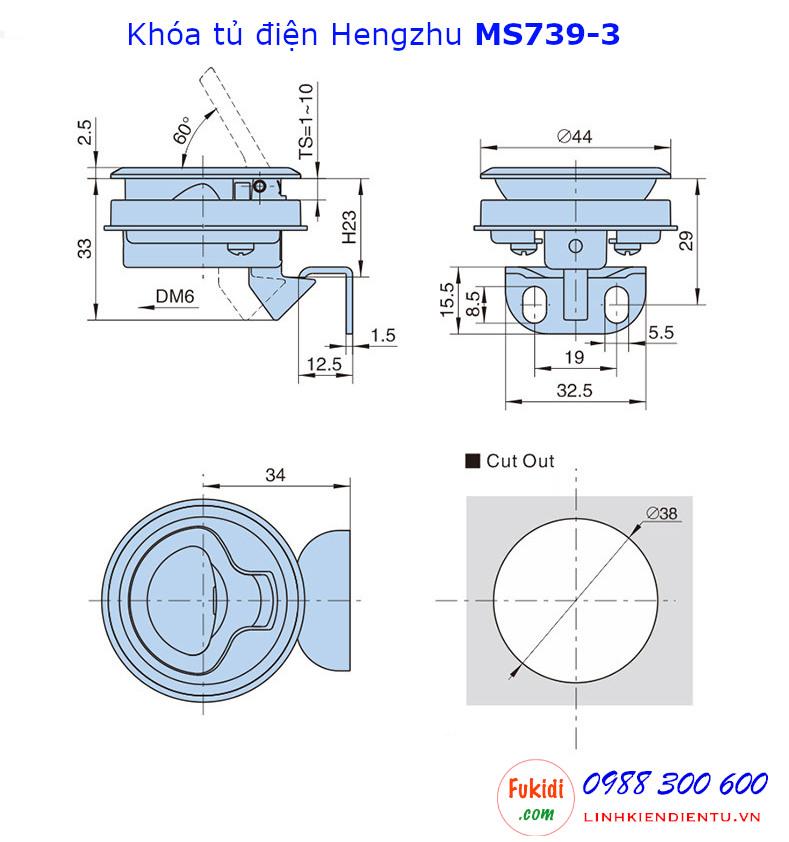 Bản vẽ chi tiết kích thước của khóa tủ điện Hengzhu MS739-3