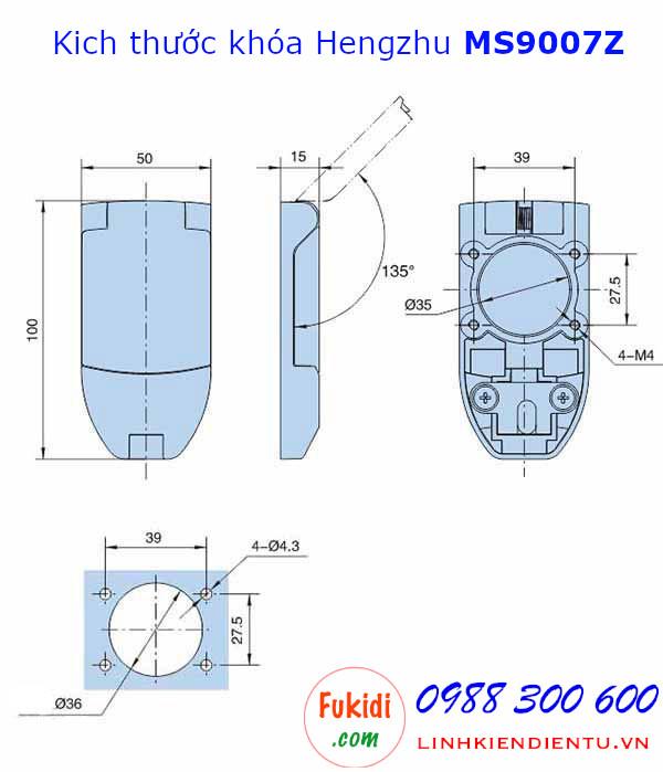 Bản vẽ chi tiết kích thước khóa tủ điện Hengzhu MS9007Z