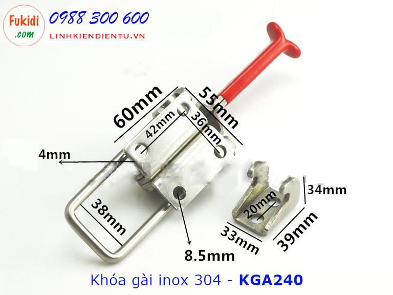 Chi tiết kích thước mặt dưới của khóa gài KGA240