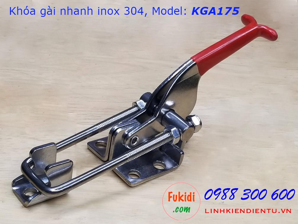 Khóa gài nhanh inox 304 dài 175mm, tay kéo điều chỉnh chiều dài model KGA175