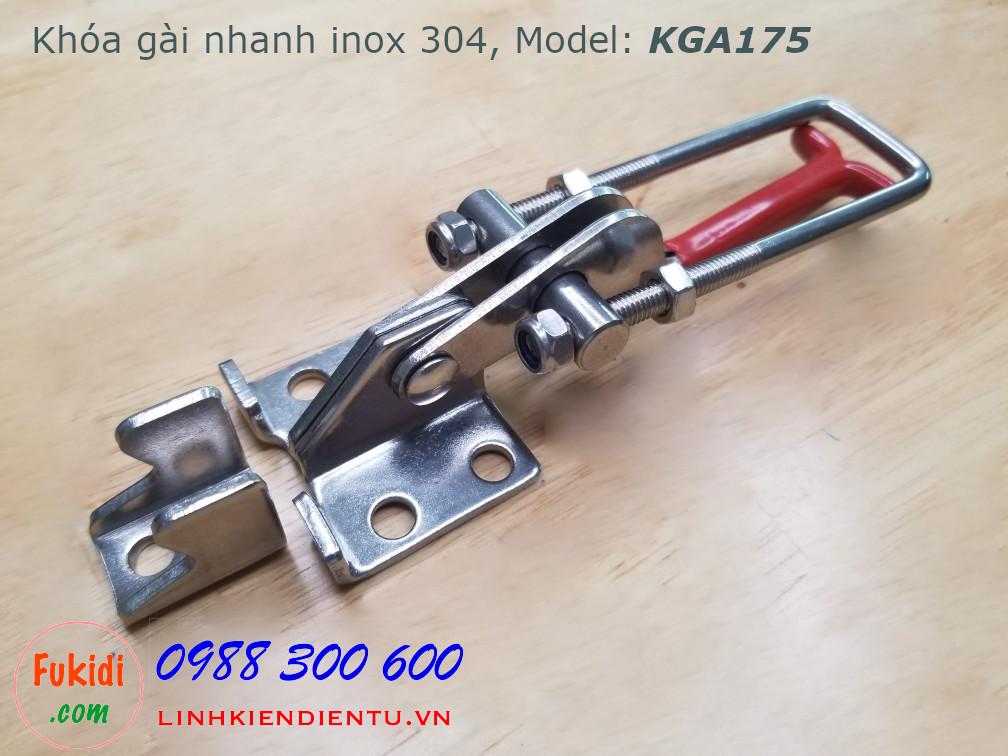 Khóa gài nhanh inox 304 dài 120mm, tay kéo điều chỉnh chiều dài model KGA120