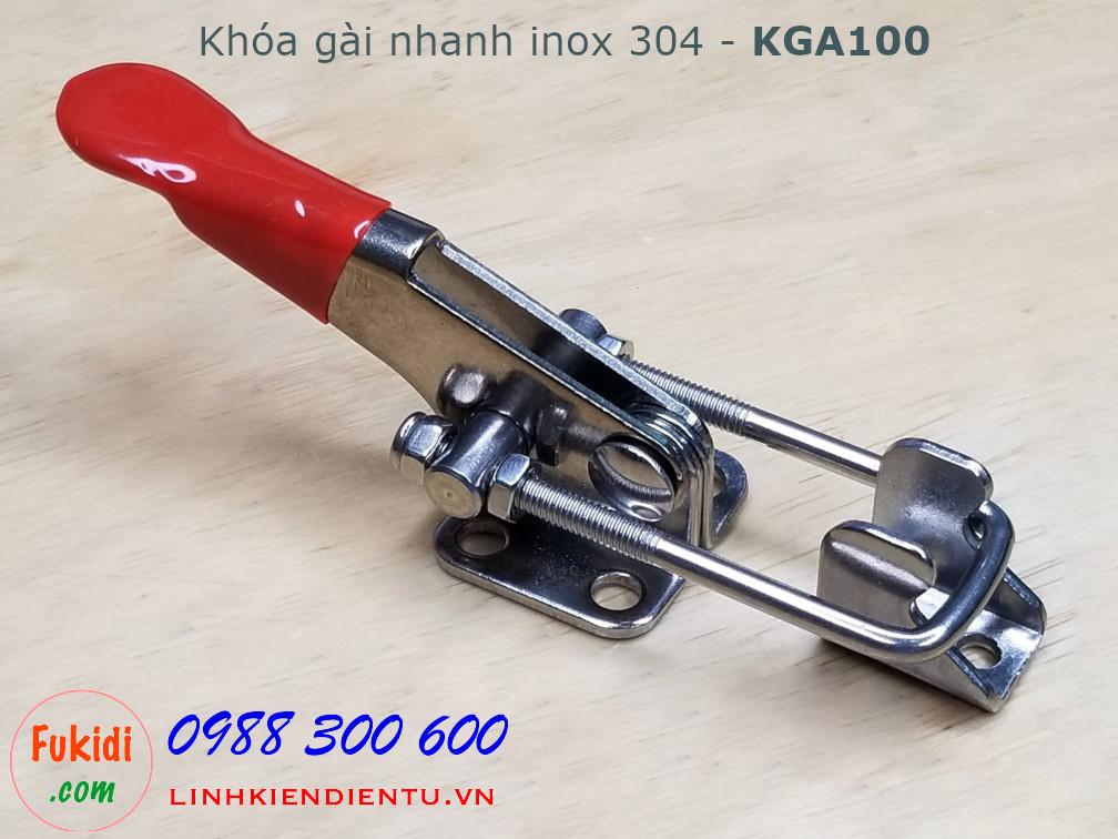 Khóa gài nhanh inox 304 dài 10cm, tay kéo có chiều dài thay đổi - KGA100
