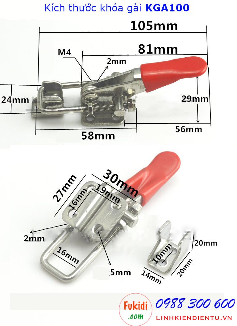 Chi tiết kích thước khóa gài KGA100