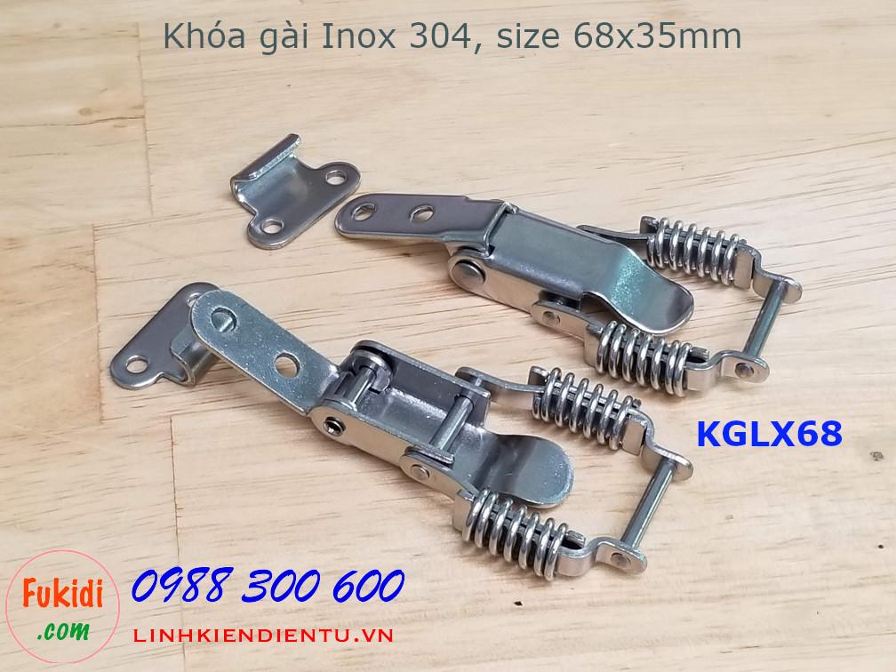 Khóa gài lò xo, inox 304, kích thước 68x35mm model KGLX68