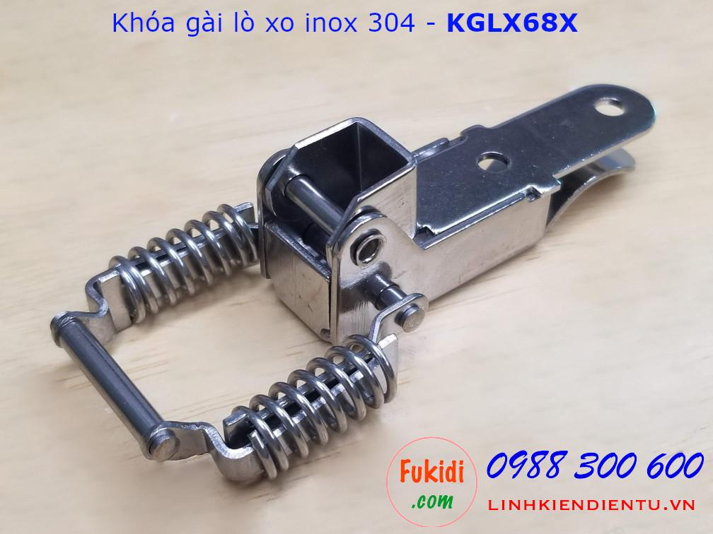 Khóa gài lò xo inox 304 dùng cho cạnh góc vuông 65mm - KGLX68X