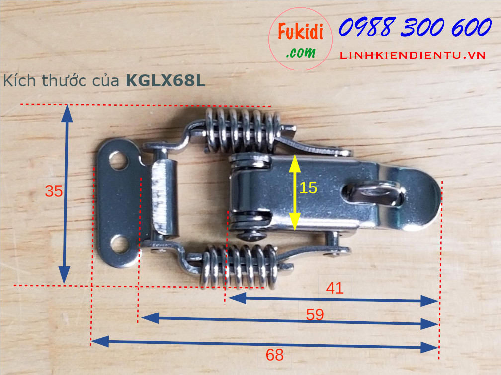 Khóa gài lò xo có khoen khóa, inox 304, kích thước 68x35mm model KGLX68L