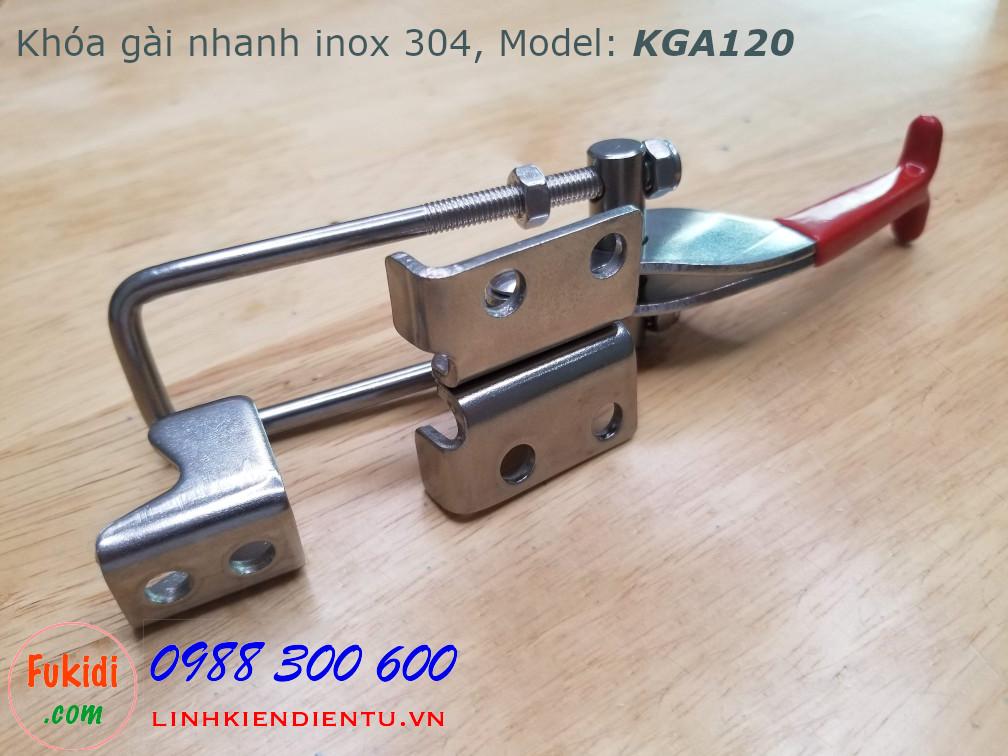 Khóa gài nhanh inox 304 dài 120mm, tay kéo điều chỉnh chiều dài model KGN120