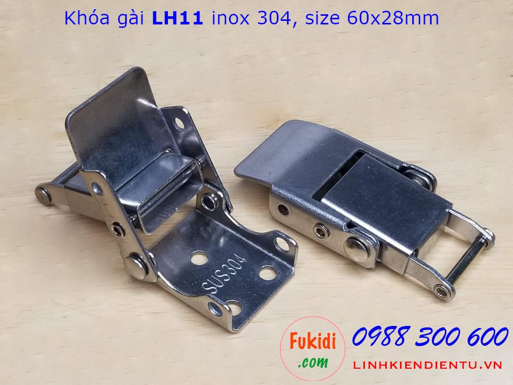 Khóa gài LH11 inox 304 kích thước 60x28mm - LH11I