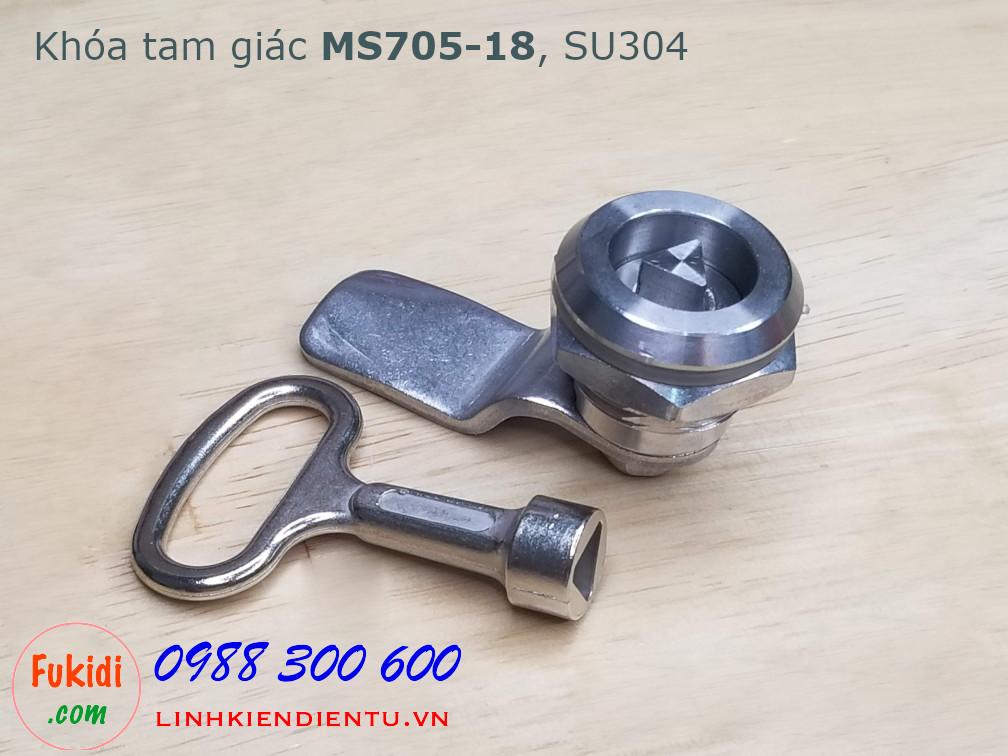 Khóa tủ điện MS705-18 chất liệu SU304 phi 22mm loại tam giác