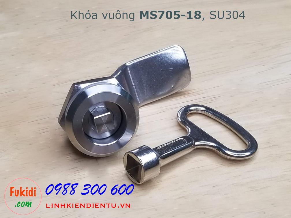Khóa tủ điện MS705-18 chất liệu SU304 phi 22mm loại hình vuông