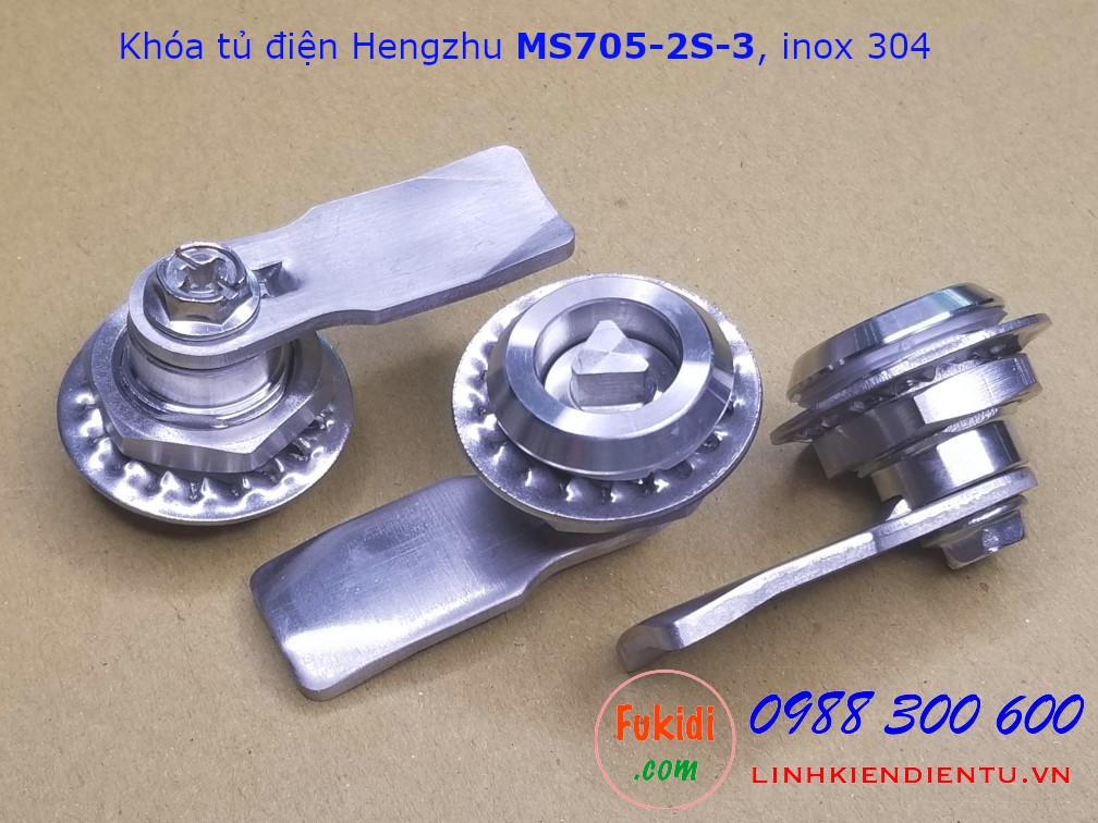 Khóa tủ điện Hengzhu MS705-2S-3 inox 304 đầu khóa tam giác